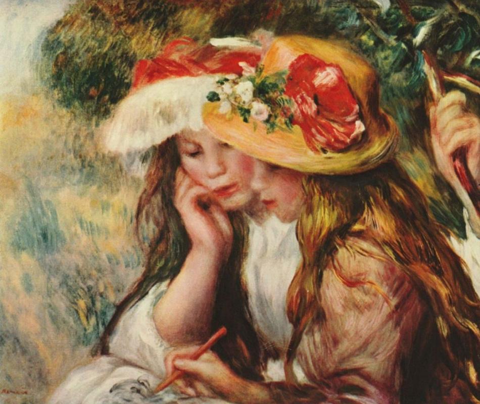 Пьер Огюст Ренуар. Две девушки, читающие в саду