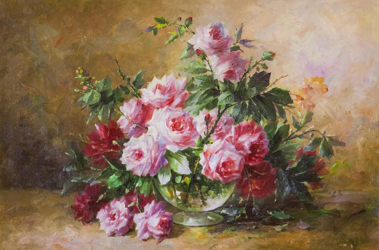 Савелий Камский. Букет роз в круглой стеклянной вазе