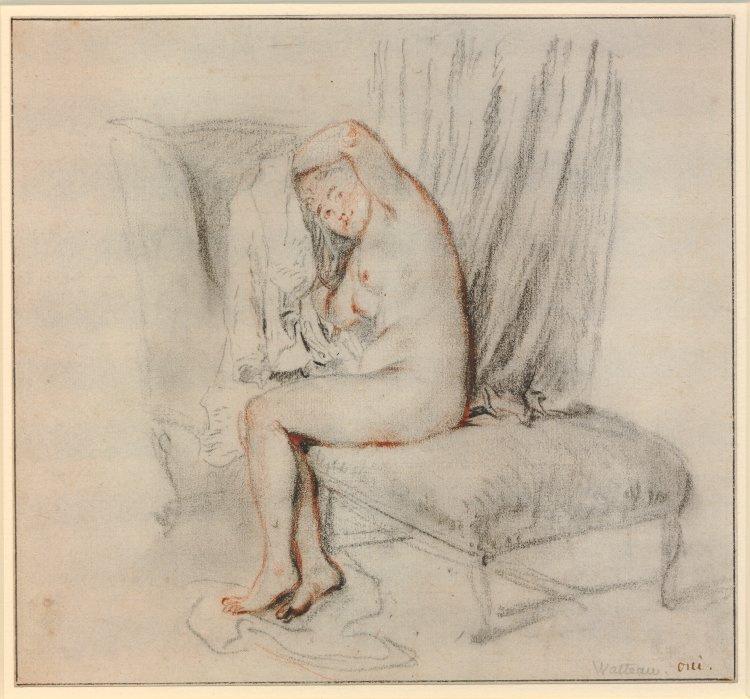Antoine Watteau. Nude on the sofa