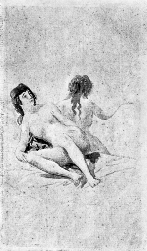 Франсиско Гойя. Санлукарский альбом: Две нагие молодые женщины на постели