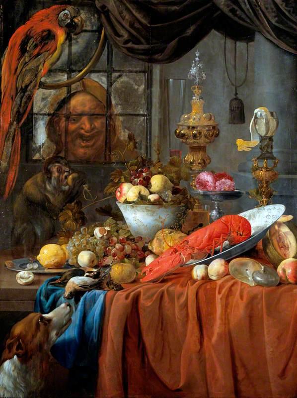 Willem van Aelst. Still life: fruit, lobster and silver utensils
