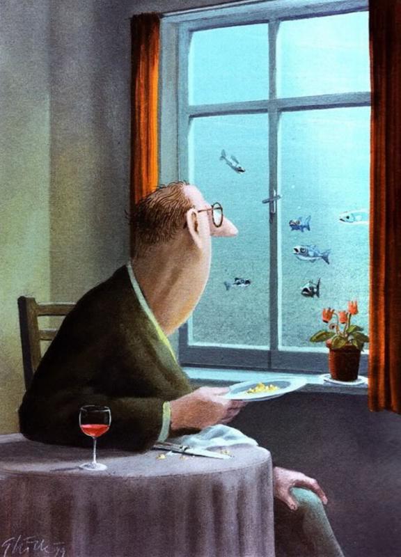 Герхард Глюк. Андре охотно покормил бы рыбок, но опасался последствий