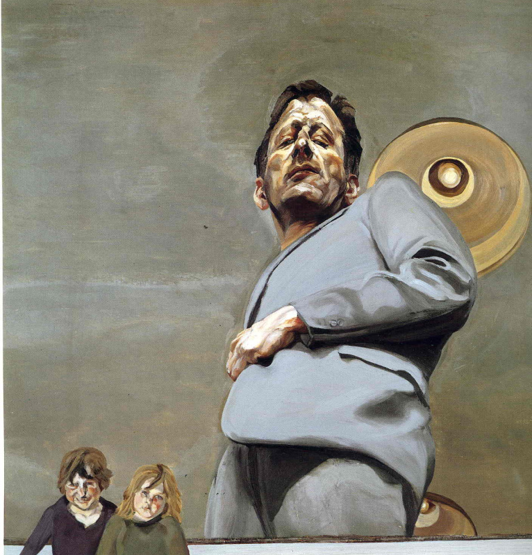 Lucien Freud. Reflection with two children