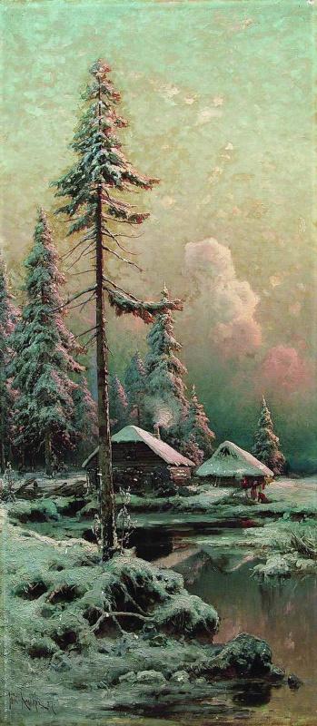 Юлий Юльевич Клевер. Зимний пейзаж с избами у реки