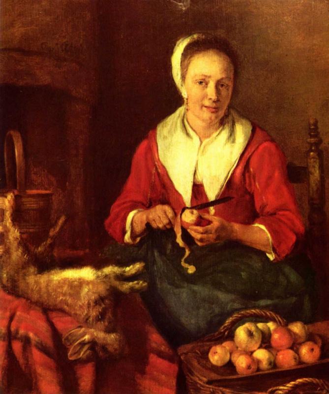 Габриель Метсю. Женщина, чистящая картофель