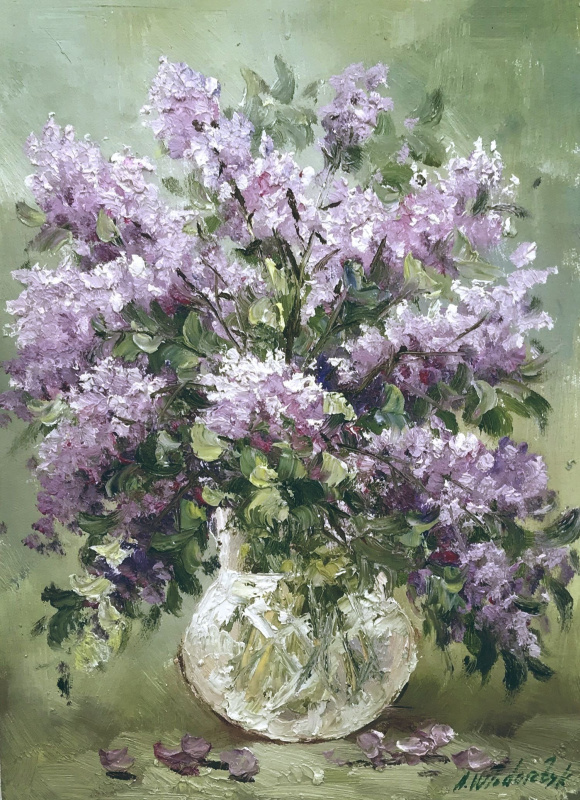 Andrzej Wlodarczyk. A bouquet of lilac in a glass vase N2