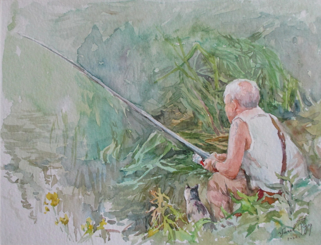Fedor Dmitrievich Usachev. Fisherman and Cat.