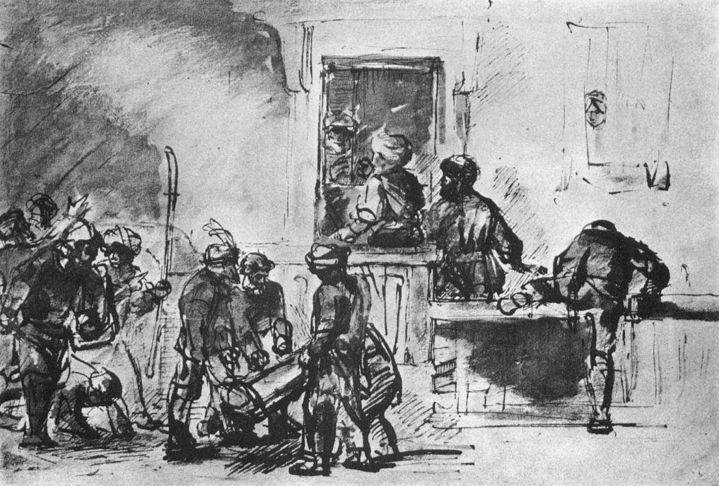 Рембрандт Харменс ван Рейн. Жители Содома перед домом Лота