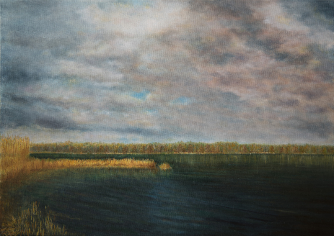 Albert Safiullin. River landscape in may. The calm before the storm.