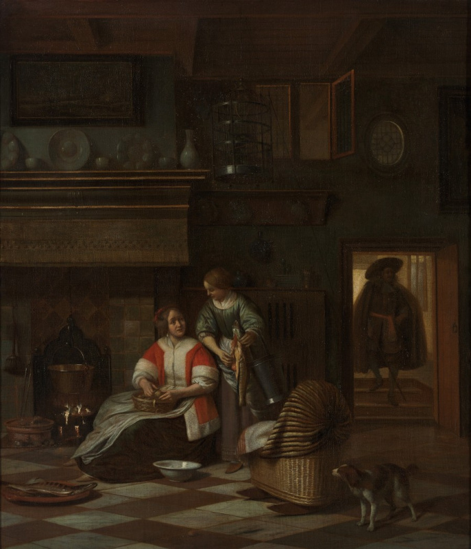 Pieter de Hooch. Mistress and her maid clean the fish