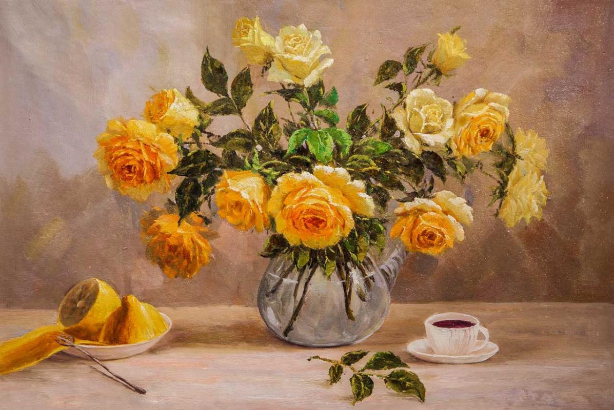 Andrzej Vlodarczyk. Утренний натюрморт с желтыми розами