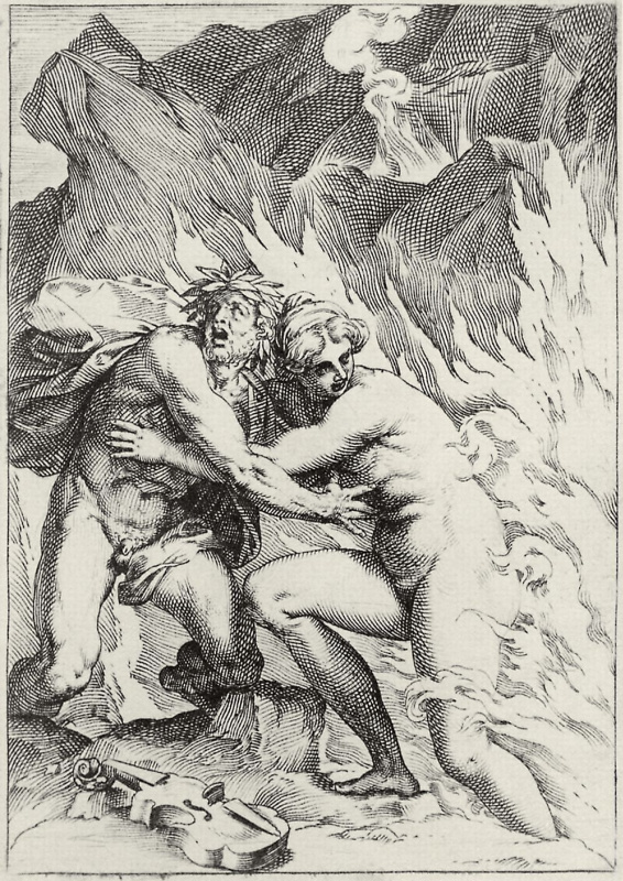 """Agostino Carracci. The series of """"Sensuality"""", Orpheus and Eurydice"""