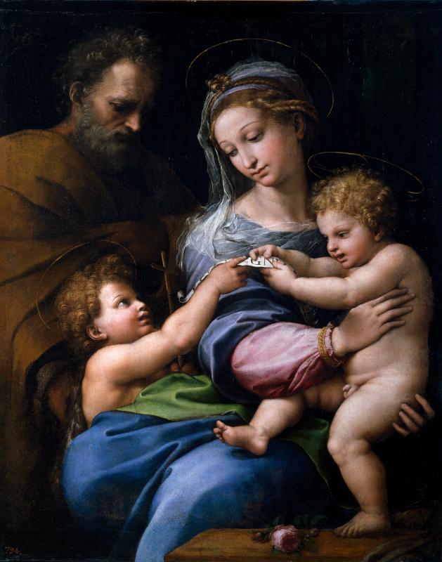 Рафаэль Санти. Мадонна с розой (Святое семейство с Иоанном Крестителем)