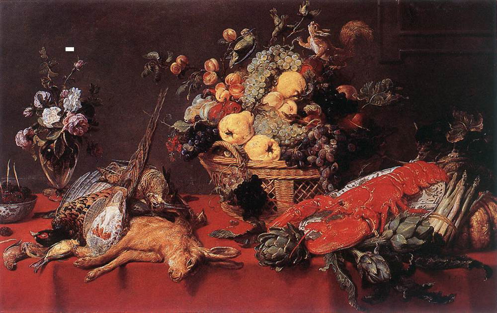 France Snyders. Still life with a basket of fruit