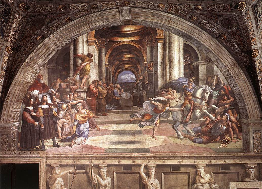 "Рафаэль Санти. Станца д'Элиодоро. Фреска ""Изгнание Элиодора из храма"""