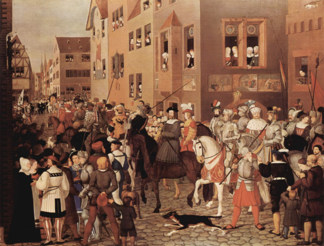 Franz Pforr. The entry of Emperor Rudolf of Habsburg in Basel in 1273 g.