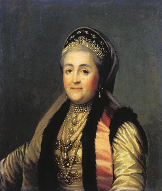 Виргилиус Эриксен. Портрет Екатерины II в шугае и кокошнике