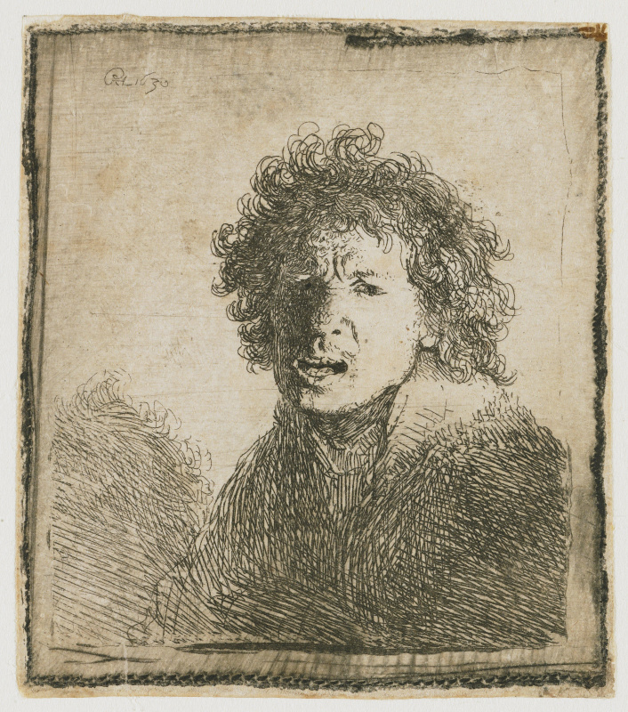 Rembrandt Harmenszoon van Rijn. Self-portrait with open mouth, as if in a scream