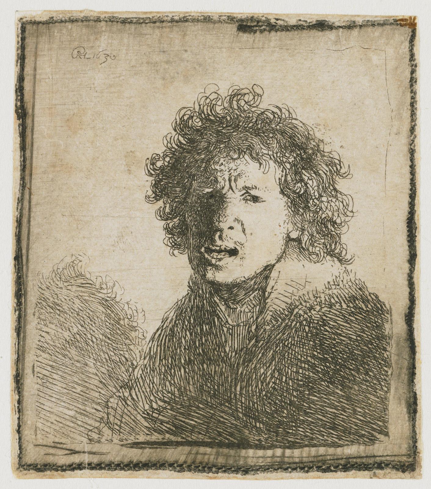 Рембрандт Харменс ван Рейн. Автопортрет с открытым ртом, словно в крике