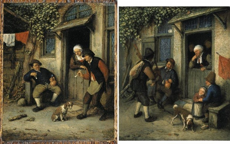 The traveler at the door of a peasant house
