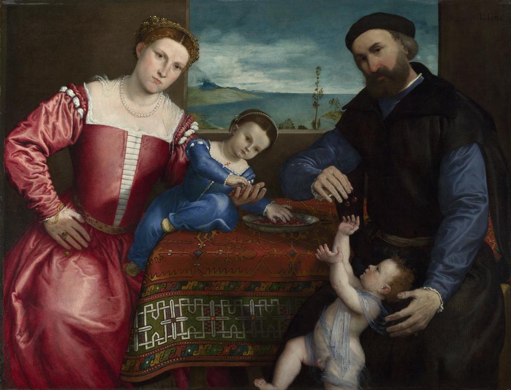 Lorenzo Lotto. Portrait of Giovanni della Volta with his Wife and Children
