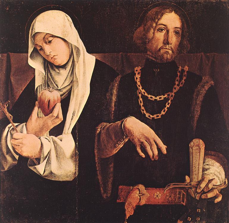 Лоренцо Лотто. Алтарный полиптих Реканати, навершие правой створки. Св. Екатерина Сиенская и св. Сигизмунд