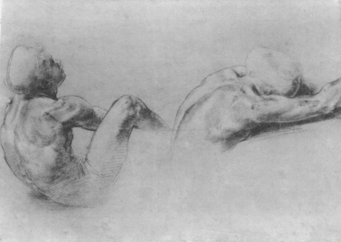 Raphael Sanzio. A sketch of two seated Nude boys to paint the hall of Constantine Palace of the Pope in the Vatican