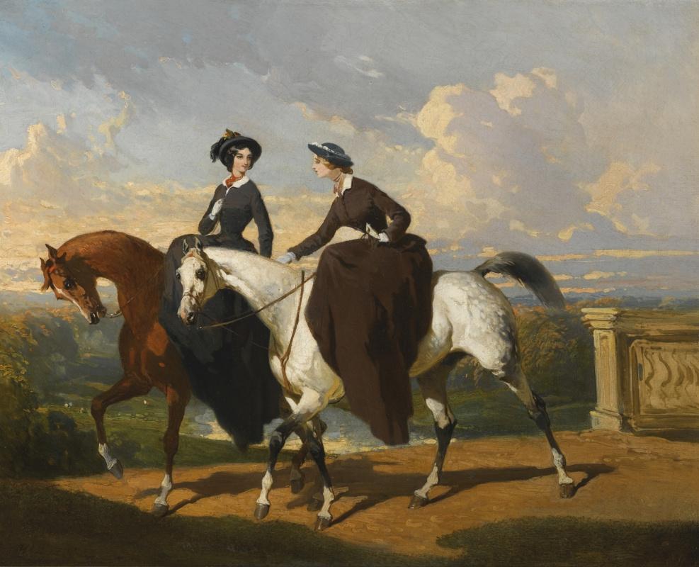 Альфред Дедрё. Две амазонки на лошадях.