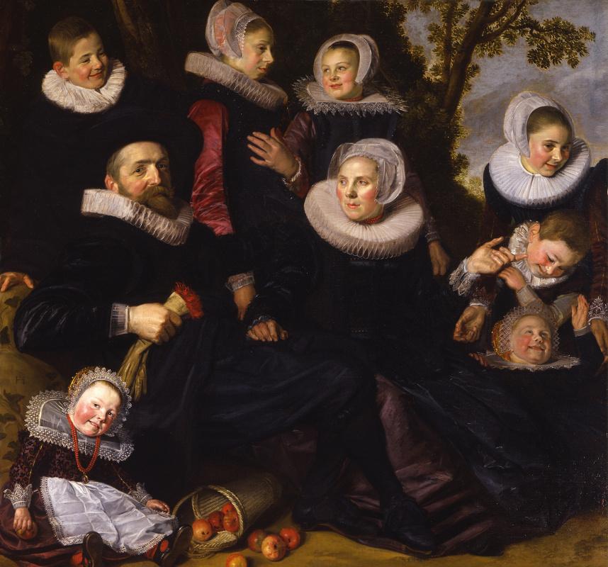 Франс Хальс. Портрет семьи с детьми на фоне пейзажа
