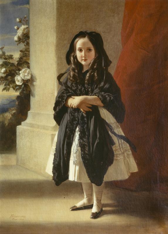 Франц Ксавер Винтерхальтер. Портрет Шарлотты Бельгийской, дочери короля Леопольда I, в полный рост