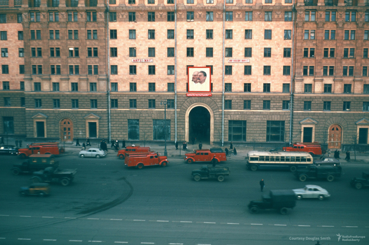 Historical photos. Slogans for peace and portraits of Stalin and Lenin. Moscow, opposite the American Embassy
