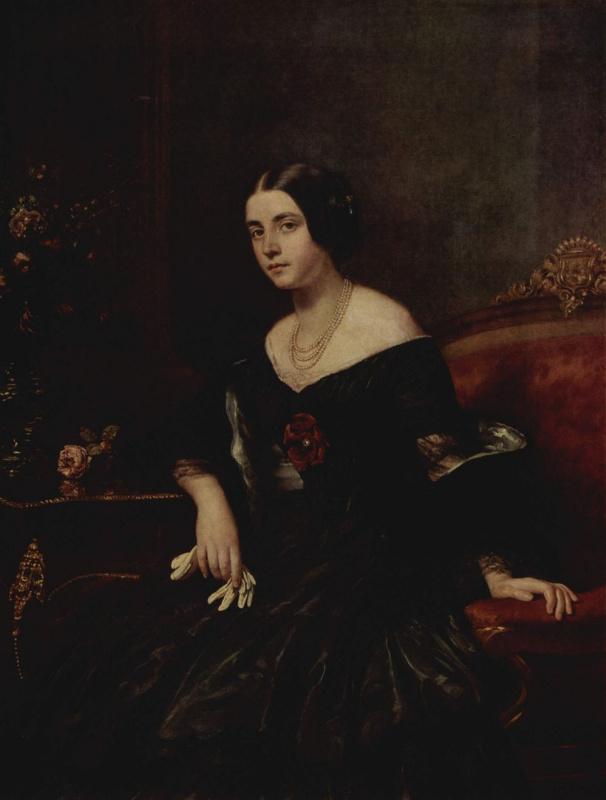 Густав Карл Людвиг Рихтер. Портрет дамы в черном платье