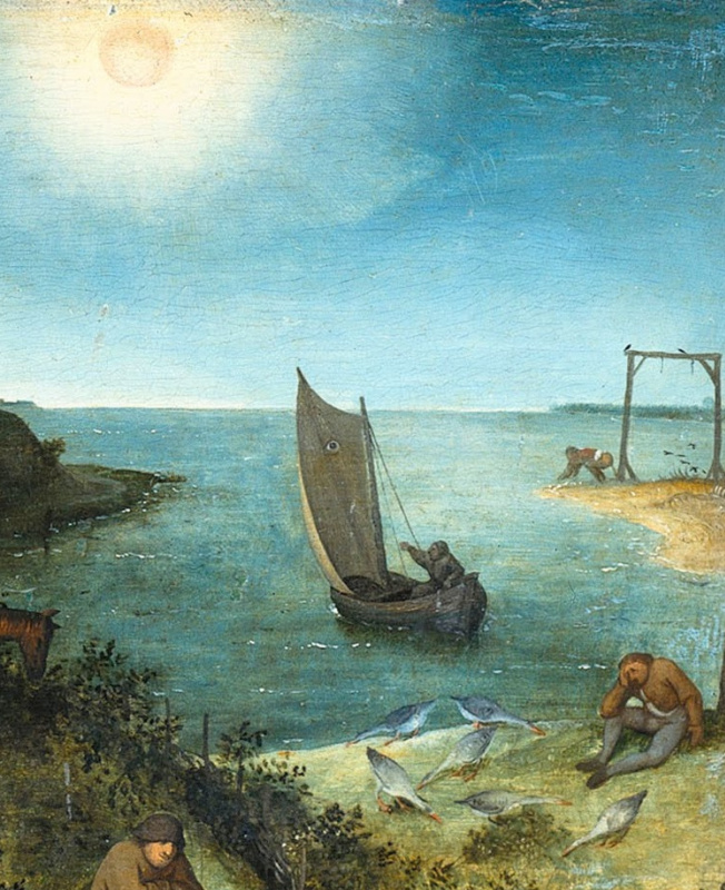 Pieter Bruegel The Elder. Flemish proverbs. Fragment: Keep an eye on the sail - be alert, watch out. To defecate on the gallows - to be indifferent to any punishment. Who knows why the goose is barefoot? - there is a reason for everything, though not an obvious one