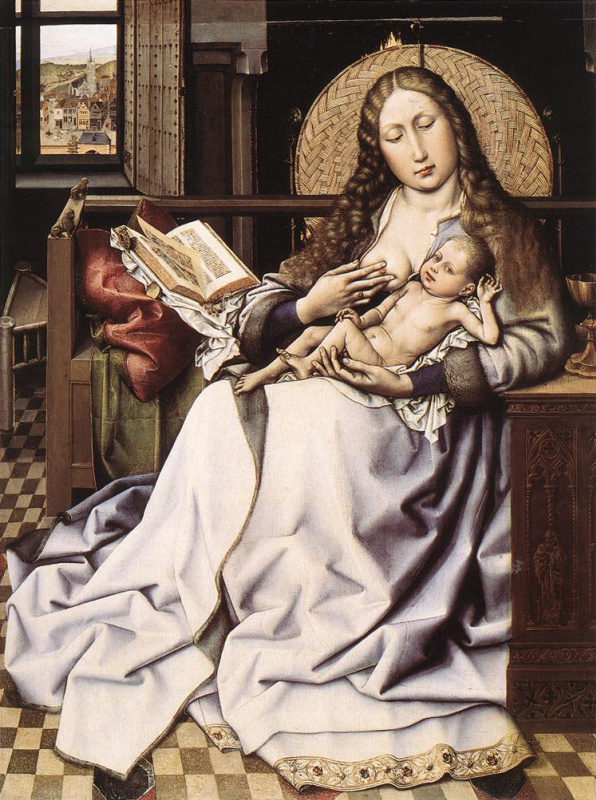 Robert Kampen. Madonna and child with a book by the fireplace