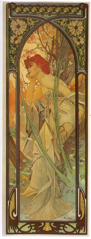 """Alfons Mucha. Evening reverie. From the series """"Times of day"""""""