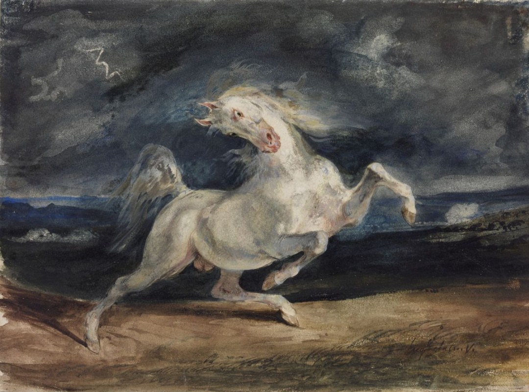 Эжен Делакруа. Испуганный конь в лунном свете