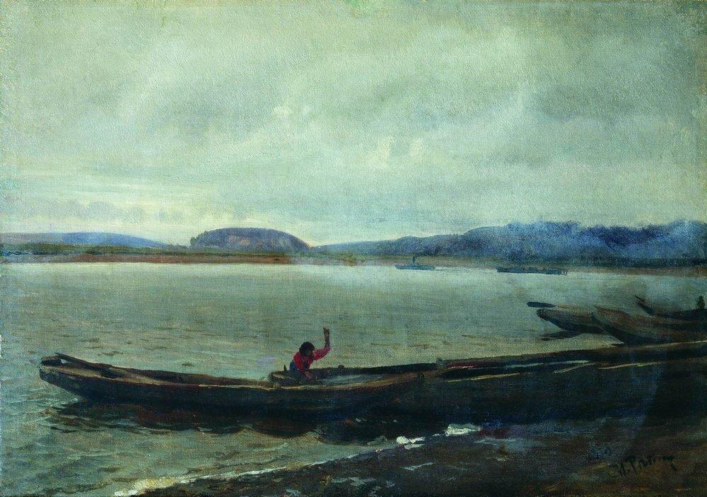 Илья Ефимович Репин. Волжский пейзаж с лодками