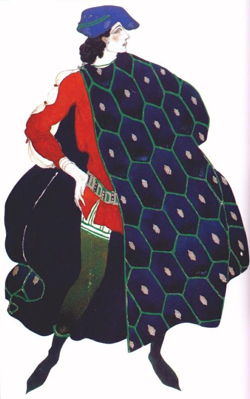 """Лев Самойлович Бакст (Леон Бакст). Эскиз костюма к балету """"Мученичество Святого Себастьяна"""". Ида Рубинштейн в роли Святого Себастьяна"""