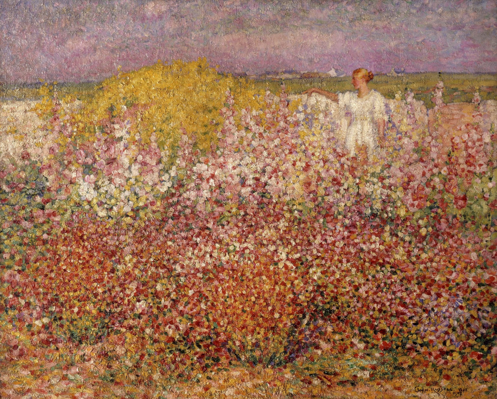 John Peter Russell. Mrs Russell among the flowers in the garden of Goulphar, Belle-Île