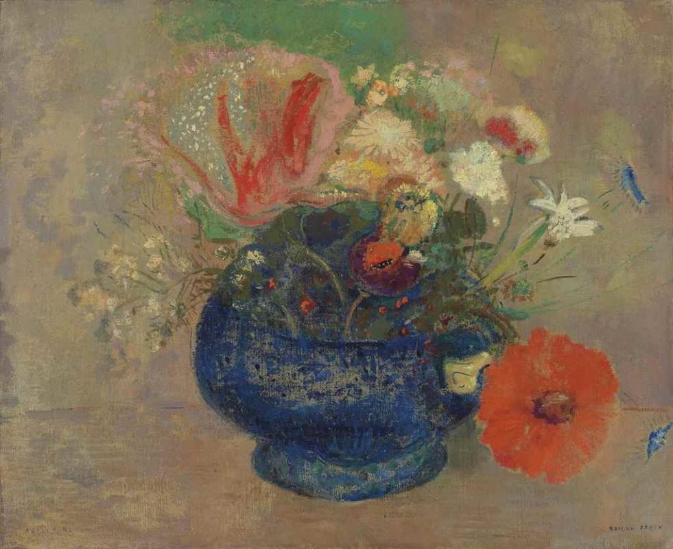 Одилон Редон. Цветы в голубой чашке