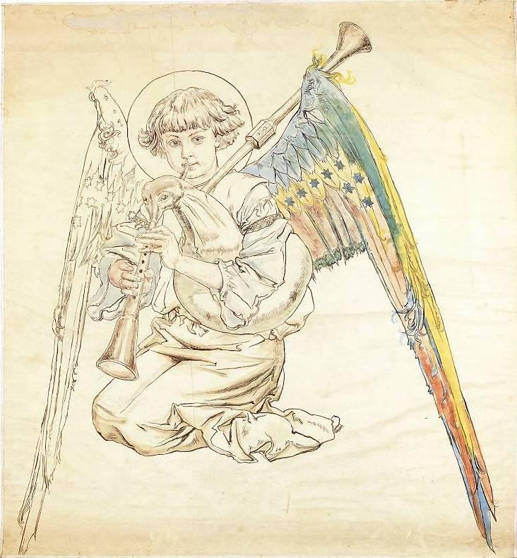 Jan Matejko. An angel playing on a bagpipe. Sketch