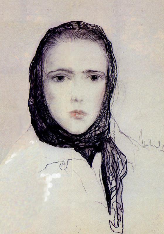 Ilya Sergeevich Glazunov. Girl in a scarf. 1987