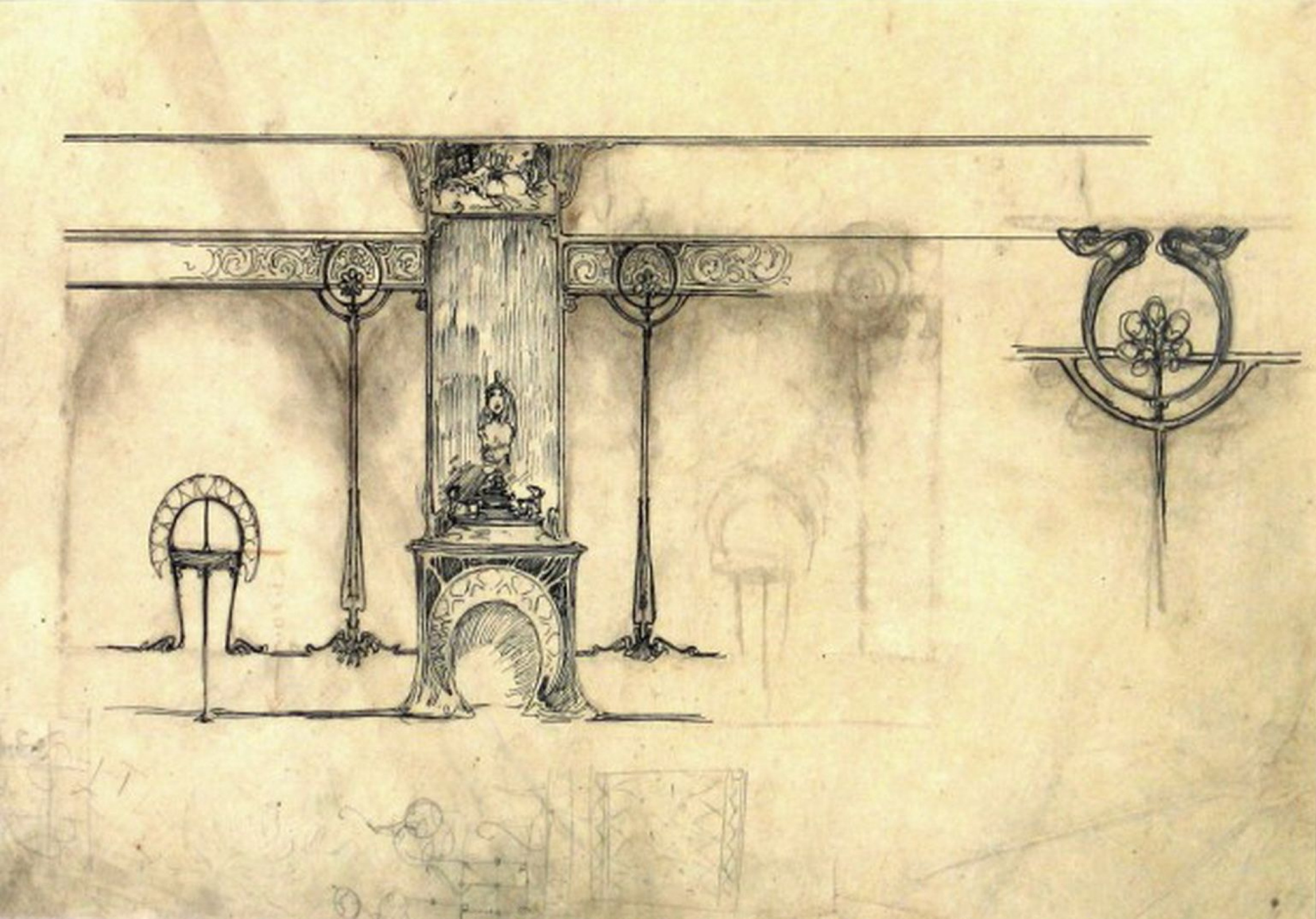 Alphonse Mucha. The interior of the jewelry house of Georges Fouquet. Sketch of the fireplace with a sculpture, a mirror, a showcase, and details of ornament for the walls