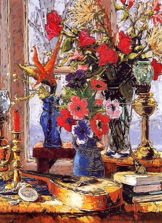 Гораций Шампань. Букет цветов зимой