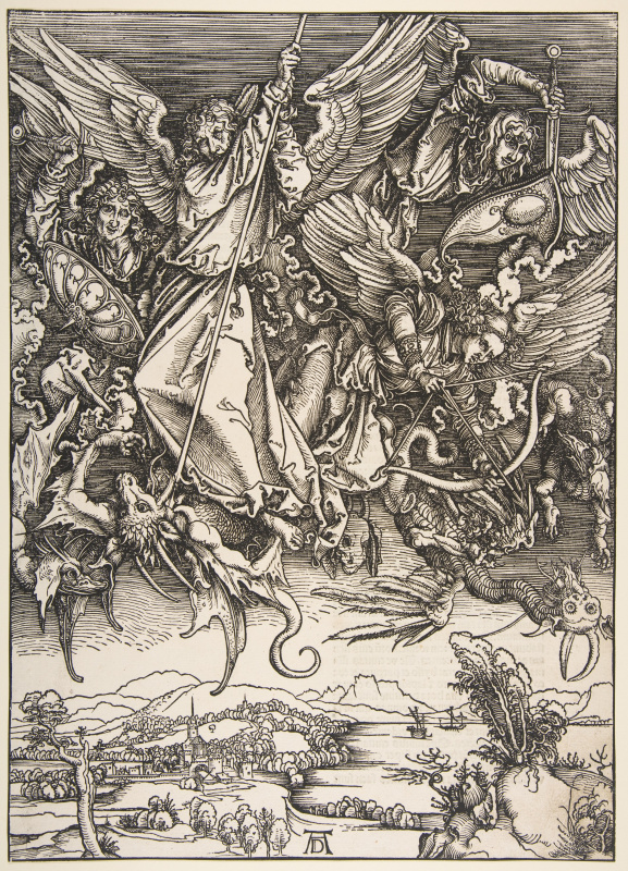 Albrecht Dürer. The battle of Archangel Michael with the dragon.From the series the Apocalypse.