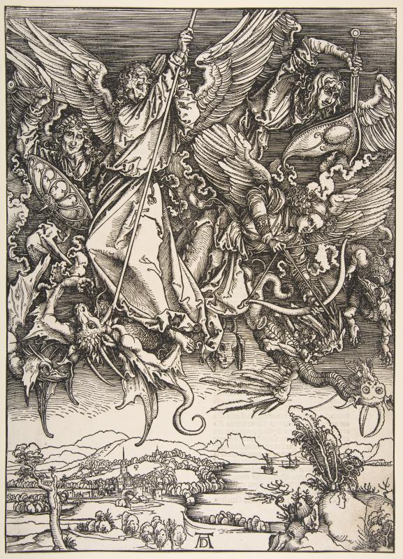 Альбрехт Дюрер. Битва архангела Михаила с драконом.Из серии Апокалипсис.
