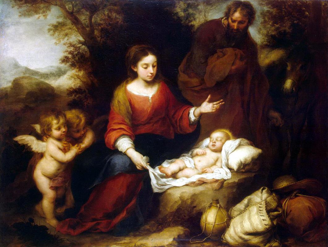 Bartolomé Esteban Murillo. The rest of the Holy family on the flight into Egypt