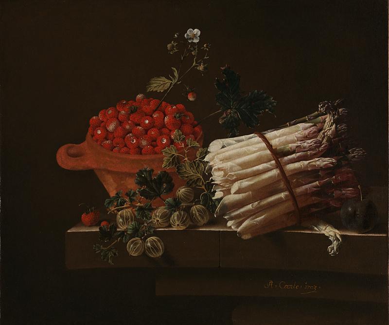 Адриан Коорт (Коорте). Натюрморт с чашей земляники, веткой крыжовника, спаржей и сливой
