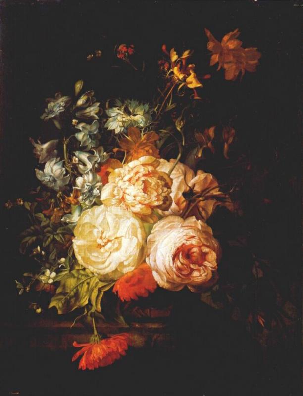 Рашель Рюйш. Бархатцы, гиацинт, розы и т.д. на мраморном выступе