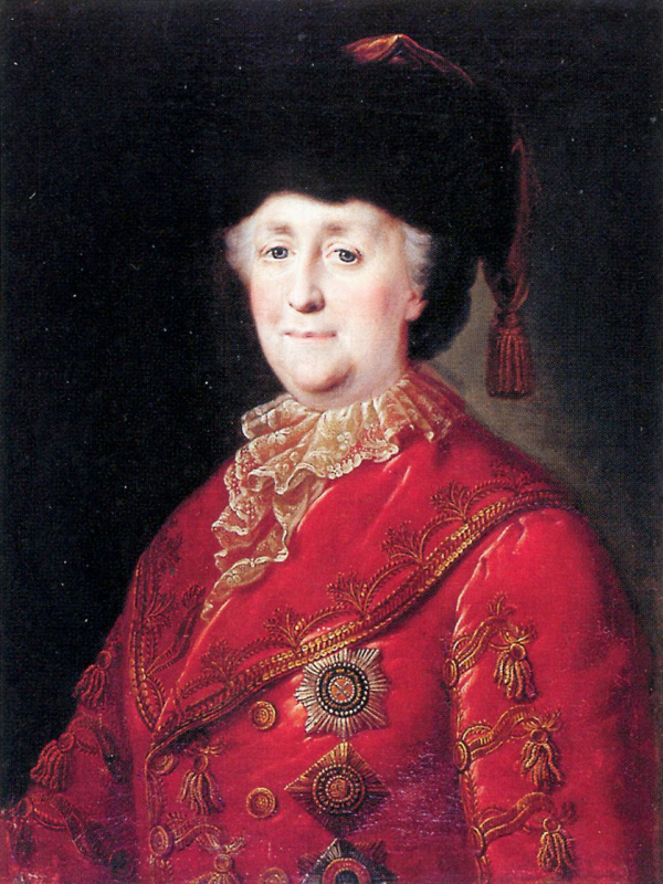 Petr Semenovich Drozhdin. Portrait of Empress Catherine II in a travelling dress